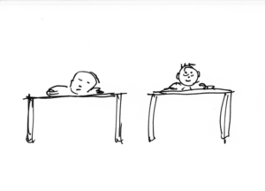 Am Schreibtisch eingeschlafen